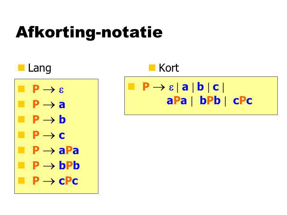 Afkorting-notatie nLangn Kort P   P  a P  b P  c P  aPa P  bPb P  cPc P   a  b  c  aPa  bPb  cPc