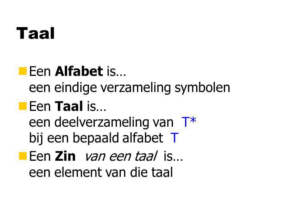 Taal nEen Alfabet is… een eindige verzameling symbolen nEen Taal is… een deelverzameling van T* bij een bepaald alfabet T nEen Zin is… een element van