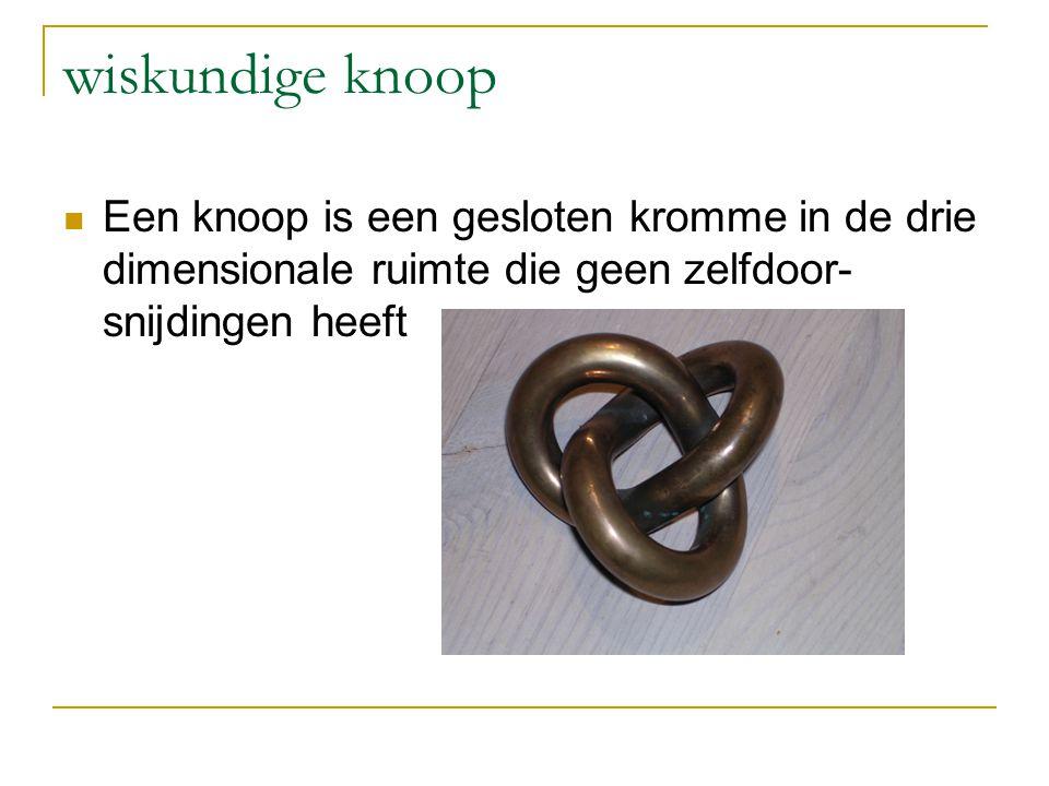 wiskundige knoop Een knoop is een gesloten kromme in de drie dimensionale ruimte die geen zelfdoor- snijdingen heeft