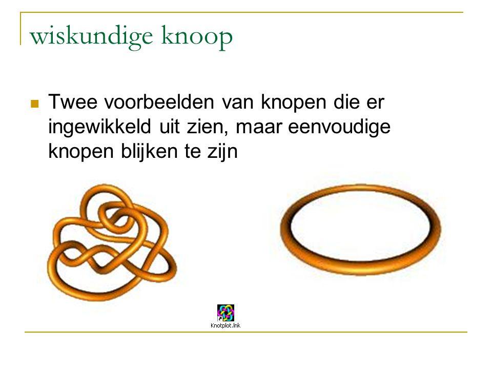 wiskundige knoop Twee voorbeelden van knopen die er ingewikkeld uit zien, maar eenvoudige knopen blijken te zijn