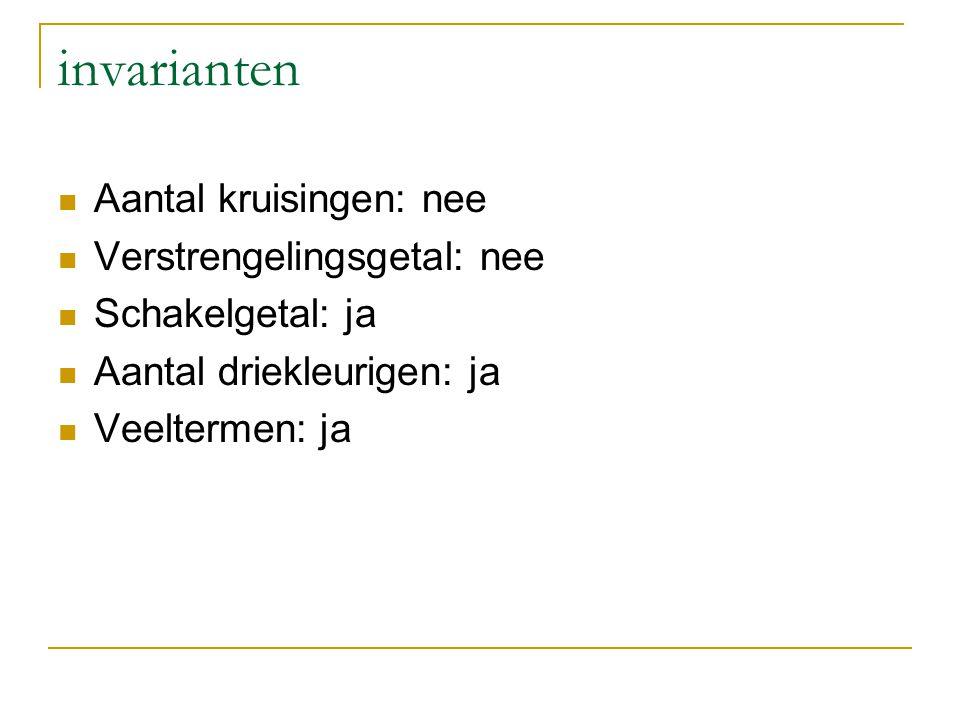 invarianten Aantal kruisingen: nee Verstrengelingsgetal: nee Schakelgetal: ja Aantal driekleurigen: ja Veeltermen: ja