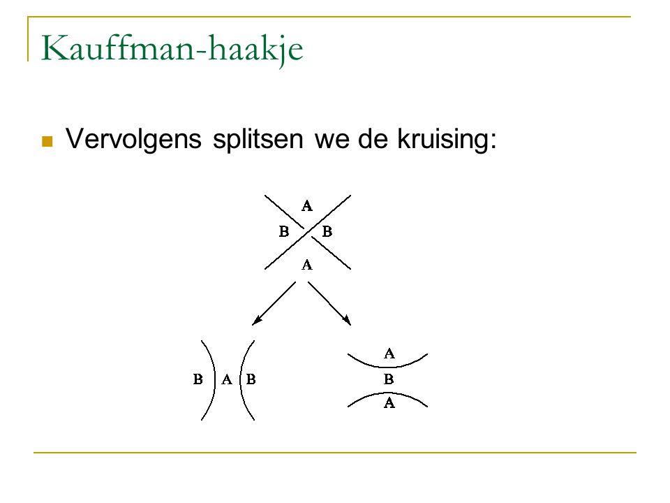 Kauffman-haakje Vervolgens splitsen we de kruising: