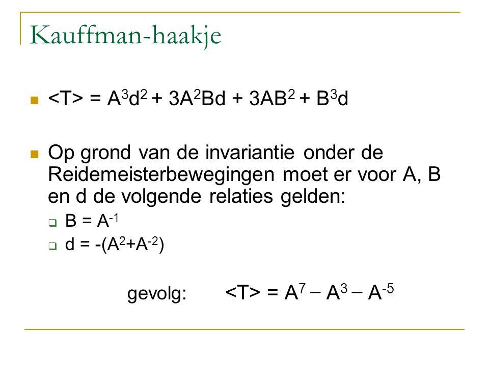 Kauffman-haakje = A 3 d 2 + 3A 2 Bd + 3AB 2 + B 3 d Op grond van de invariantie onder de Reidemeisterbewegingen moet er voor A, B en d de volgende rel