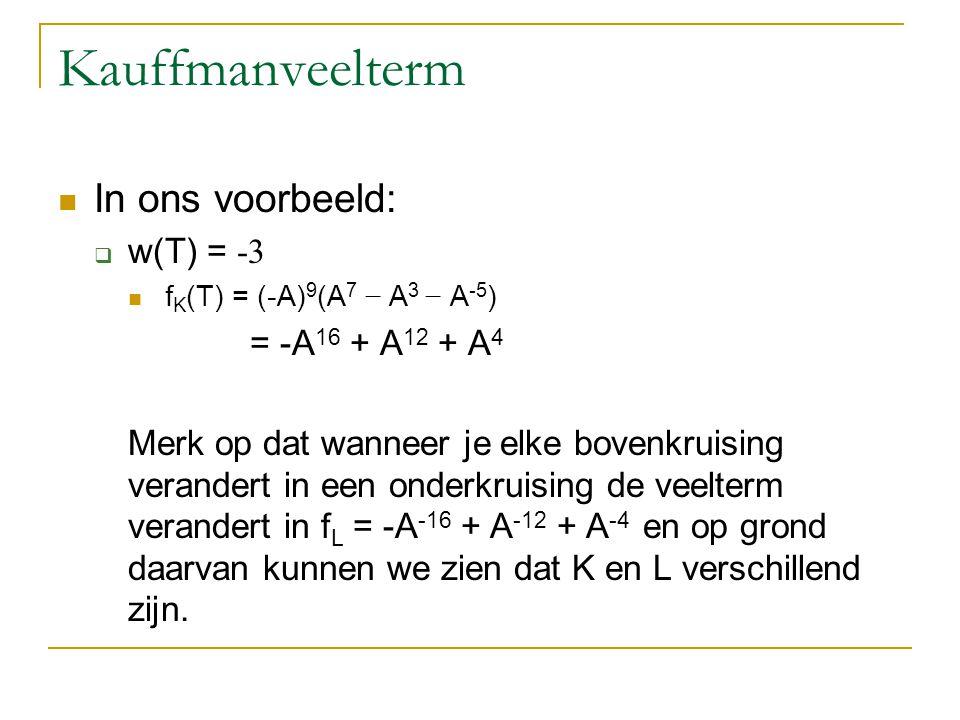Kauffmanveelterm In ons voorbeeld:  w(T) = -3 f K (T) = (-A) 9 (A 7 − A 3 − A -5 ) = -A 16 + A 12 + A 4 Merk op dat wanneer je elke bovenkruising ver