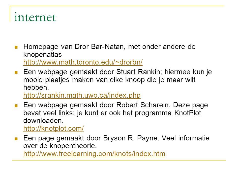 internet Homepage van Dror Bar-Natan, met onder andere de knopenatlas http://www.math.toronto.edu/~drorbn/ http://www.math.toronto.edu/~drorbn/ Een we