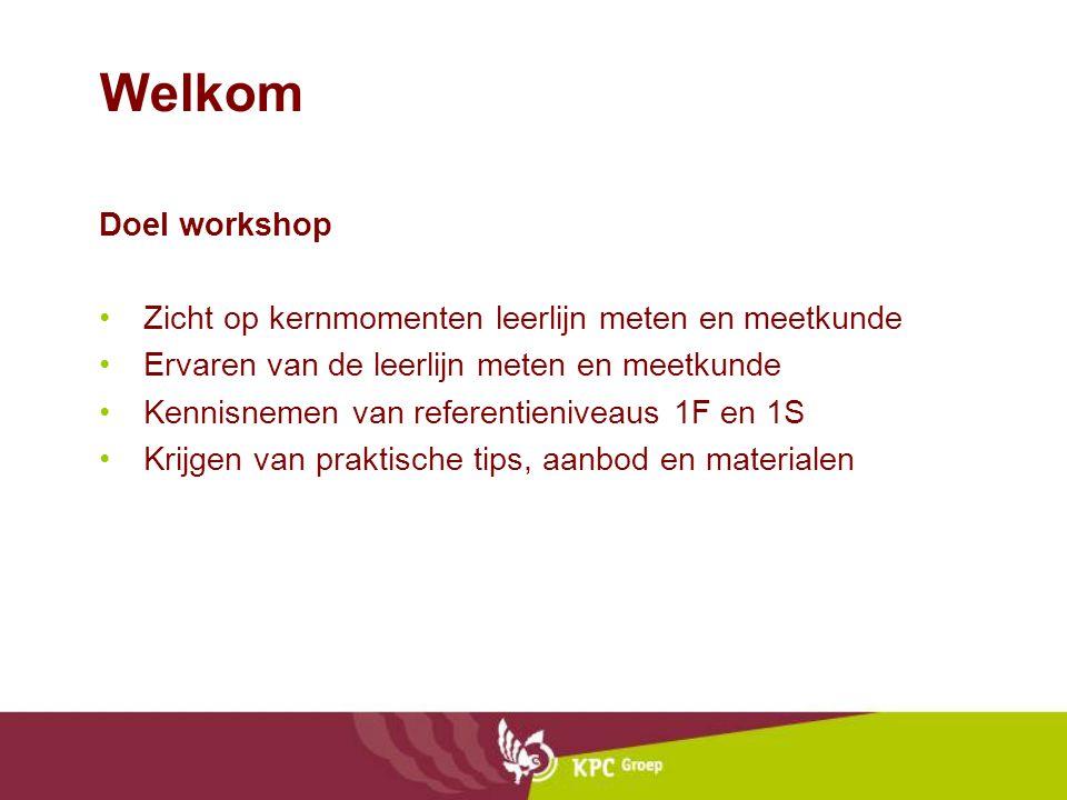 Welkom Doel workshop Zicht op kernmomenten leerlijn meten en meetkunde Ervaren van de leerlijn meten en meetkunde Kennisnemen van referentieniveaus 1F