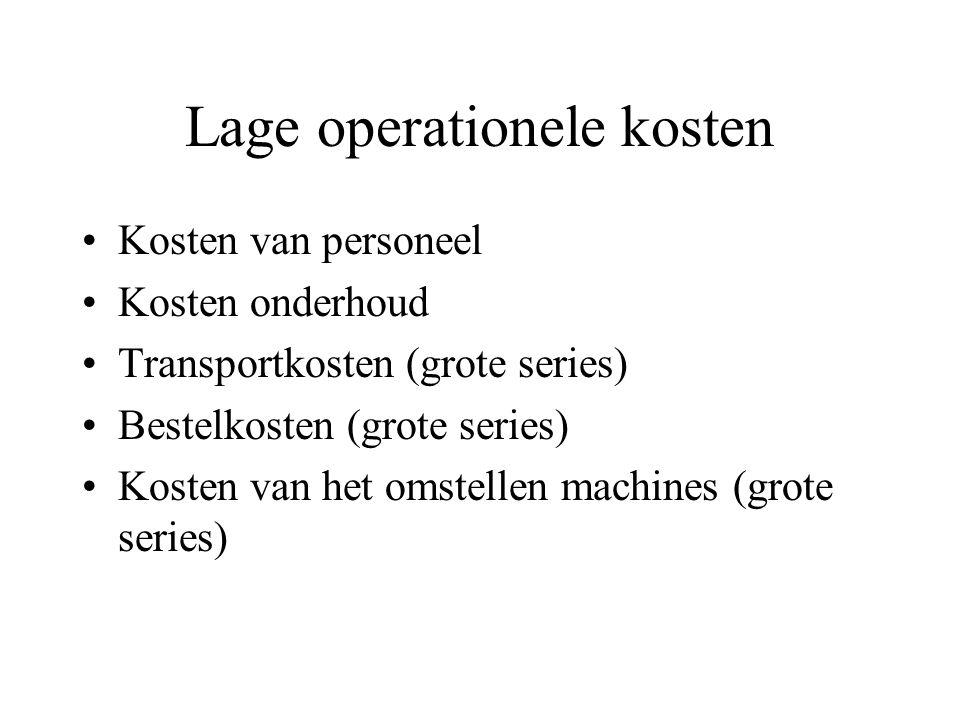 Financiële doelen versus logistiek management Lage operationele kosten –grote series Lage kapitaallasten –lage voorraden Opbrengsten: customer service