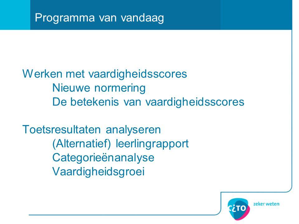 Werken met vaardigheidsscores Nieuwe normering De betekenis van vaardigheidsscores Toetsresultaten analyseren (Alternatief) leerlingrapport Categorieë