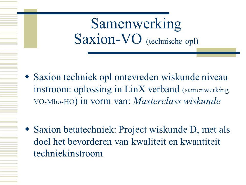Samenwerking Saxion-VO (technische opl)  Saxion techniek opl ontevreden wiskunde niveau instroom: oplossing in LinX verband (samenwerking VO-Mbo-HO ) in vorm van: Masterclass wiskunde  Saxion betatechniek: Project wiskunde D, met als doel het bevorderen van kwaliteit en kwantiteit techniekinstroom