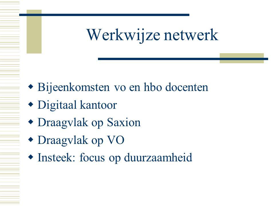 Werkwijze netwerk  Bijeenkomsten vo en hbo docenten  Digitaal kantoor  Draagvlak op Saxion  Draagvlak op VO  Insteek: focus op duurzaamheid