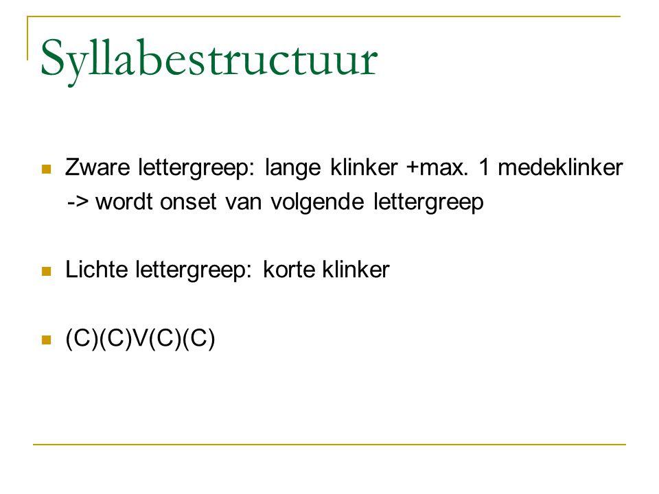 Syllabestructuur Zware lettergreep: lange klinker +max.