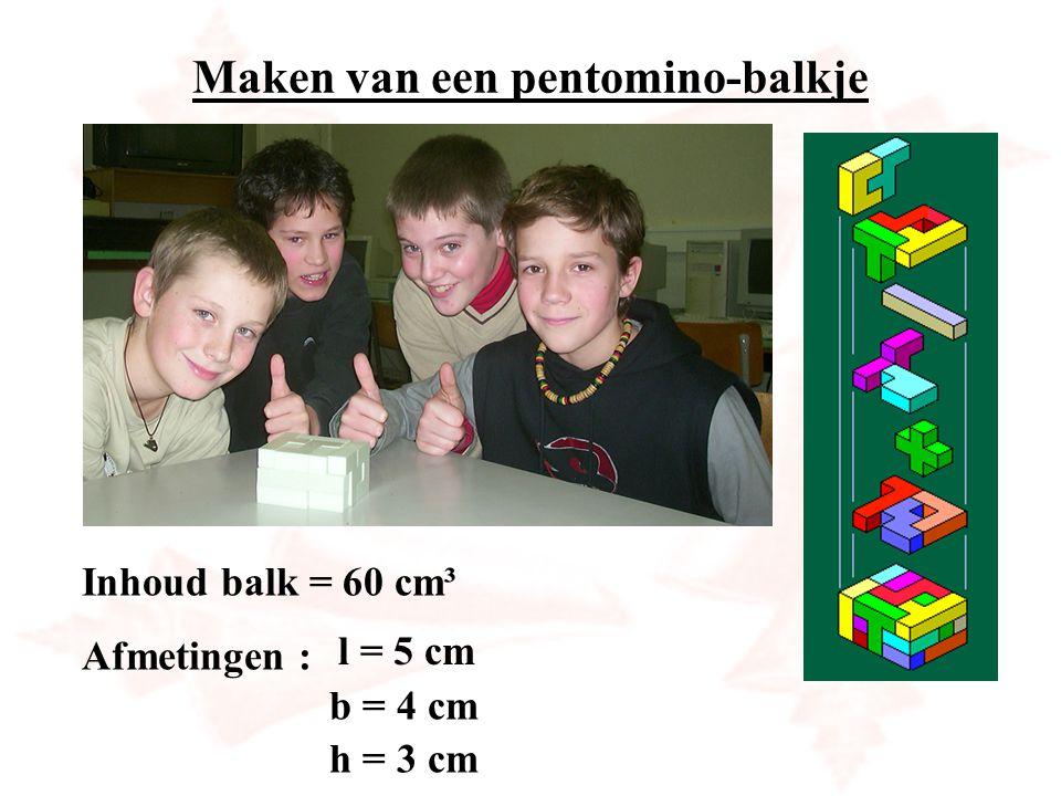 Maken van een pentomino-balkje Inhoud balk = 60 cm³ Afmetingen : b = 4 cm h = 3 cm l = 5 cm