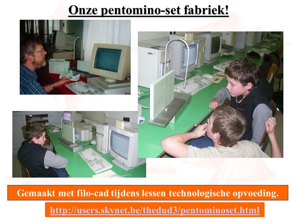 Onze pentomino-set fabriek! Gemaakt met filo-cad tijdens lessen technologische opvoeding. http://users.skynet.be/thedud3/pentominoset.html