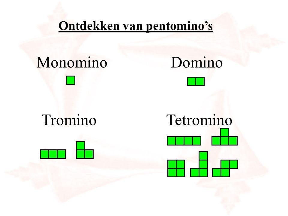 Ontdekken van pentomino's MonominoDomino TrominoTetromino