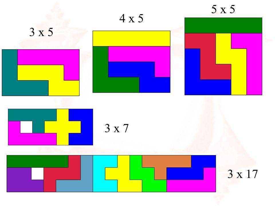 We zoeken alle mogelijke rechthoeken van 3 x 5 Pentomino-rechthoeken