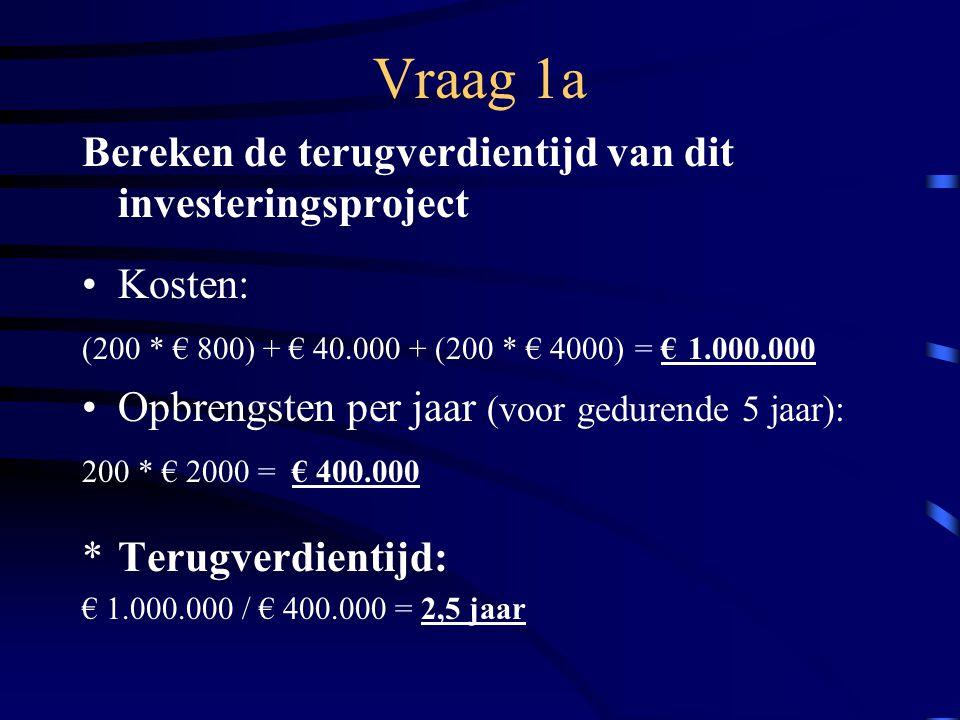 Vraag 1a Bereken de terugverdientijd van dit investeringsproject Kosten: (200 * € 800) + € 40.000 + (200 * € 4000) = € 1.000.000 Opbrengsten per jaar (voor gedurende 5 jaar): 200 * € 2000 = € 400.000 *Terugverdientijd: € 1.000.000 / € 400.000 = 2,5 jaar