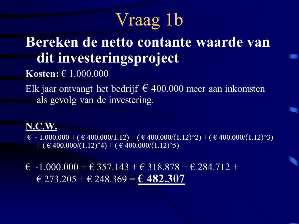 Vraag 1b Bereken de netto contante waarde van dit investeringsproject Kosten: € 1.000.000 Elk jaar ontvangt het bedrijf € 400.000 meer aan inkomsten als gevolg van de investering.