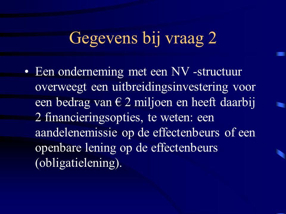 Gegevens bij vraag 2 Een onderneming met een NV -structuur overweegt een uitbreidingsinvestering voor een bedrag van € 2 miljoen en heeft daarbij 2 financieringsopties, te weten: een aandelenemissie op de effectenbeurs of een openbare lening op de effectenbeurs (obligatielening).