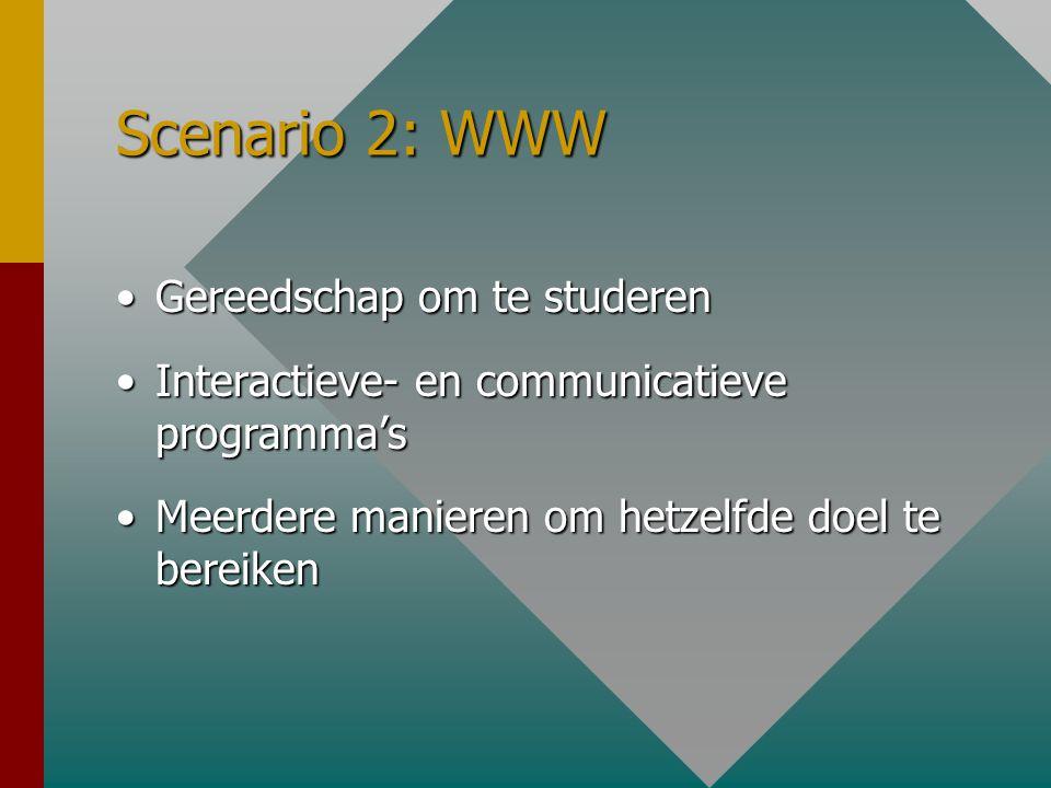 Scenario 2: Interactief Samenwerkend lerenSamenwerkend leren Situatie-gebonden kennisSituatie-gebonden kennis Student heeft keuze uit groot aanbodStudent heeft keuze uit groot aanbod Sterk afhankelijk van voorkennis, ervaring en verwachtingen van de studentSterk afhankelijk van voorkennis, ervaring en verwachtingen van de student Docent als coachDocent als coach