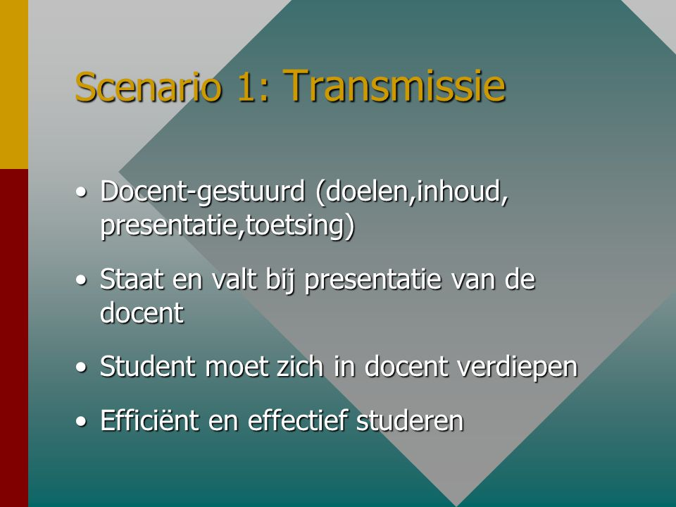 Didactische Scenario's Transmissie-modelTransmissie-model Interactieve model (Studio-Studiehuis)Interactieve model (Studio-Studiehuis) Onderhandelings-modelOnderhandelings-model
