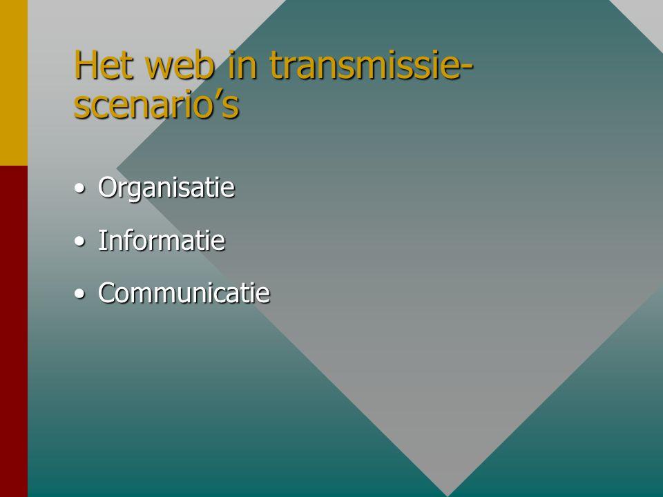 Scenario 1: Transmissie Docent-gestuurd (doelen,inhoud, presentatie,toetsing)Docent-gestuurd (doelen,inhoud, presentatie,toetsing) Staat en valt bij p