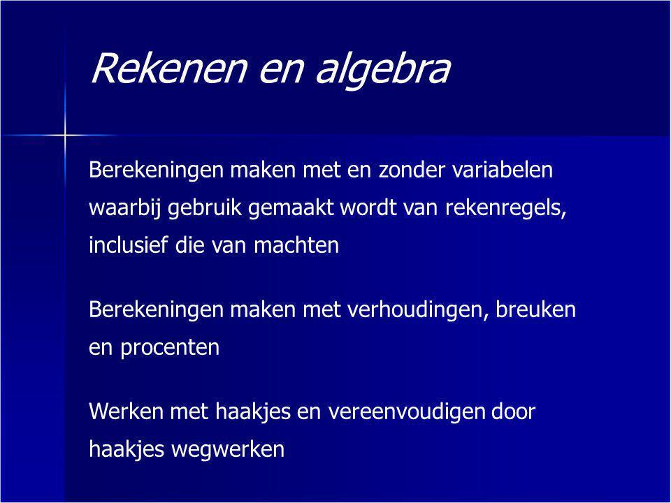 Rekenen en algebra Rekenregels gebruiken om algebraïsche expressies te herschrijven of te verifiëren Werken met grootheden en samengestelde grootheden Getallen in historisch perspectief plaatsen; denk hierbij aan π, de gulden snede en de rij van Fibonacci Gebruik maken van de begrippen absoluut en relatief