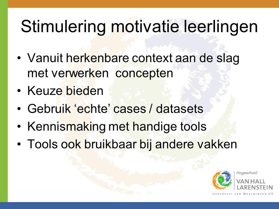 Stimulering motivatie leerlingen Vanuit herkenbare context aan de slag met verwerken concepten Keuze bieden Gebruik 'echte' cases / datasets Kennismak