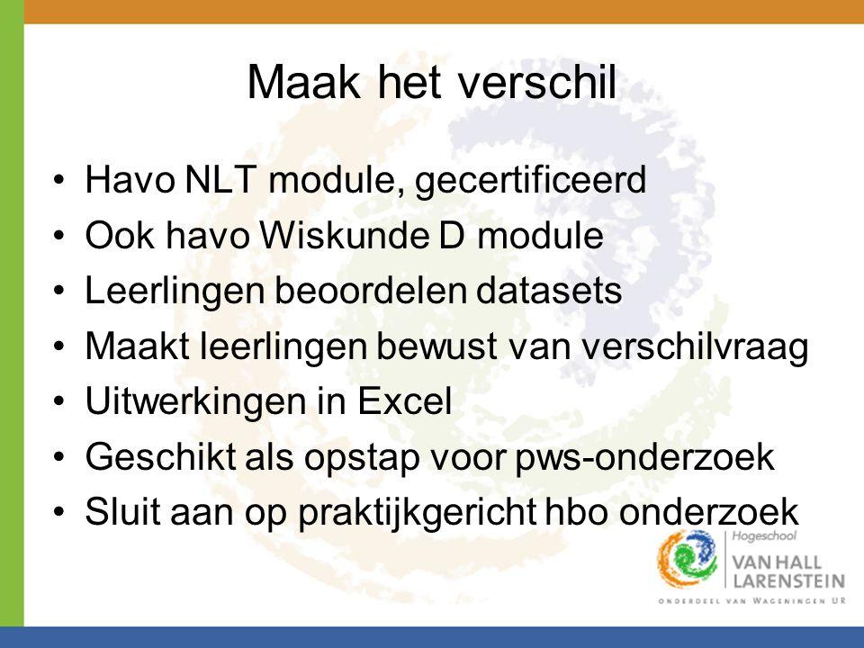 Maak het verschil Havo NLT module, gecertificeerd Ook havo Wiskunde D module Leerlingen beoordelen datasets Maakt leerlingen bewust van verschilvraag Uitwerkingen in Excel Geschikt als opstap voor pws-onderzoek Sluit aan op praktijkgericht hbo onderzoek