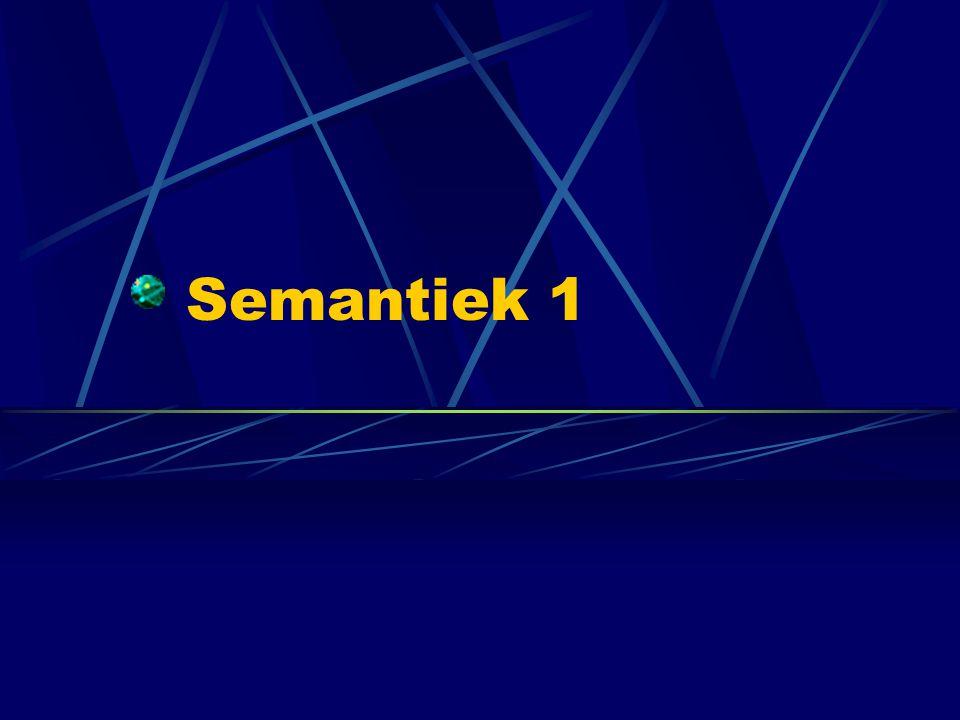 Inleiding: Semantiek Semantiek: de studie van betekenis in taal Doel: modelleren hoe de betekenis van een zin of woordgroep is opgebouwd uit de betekenissen van de woorden.