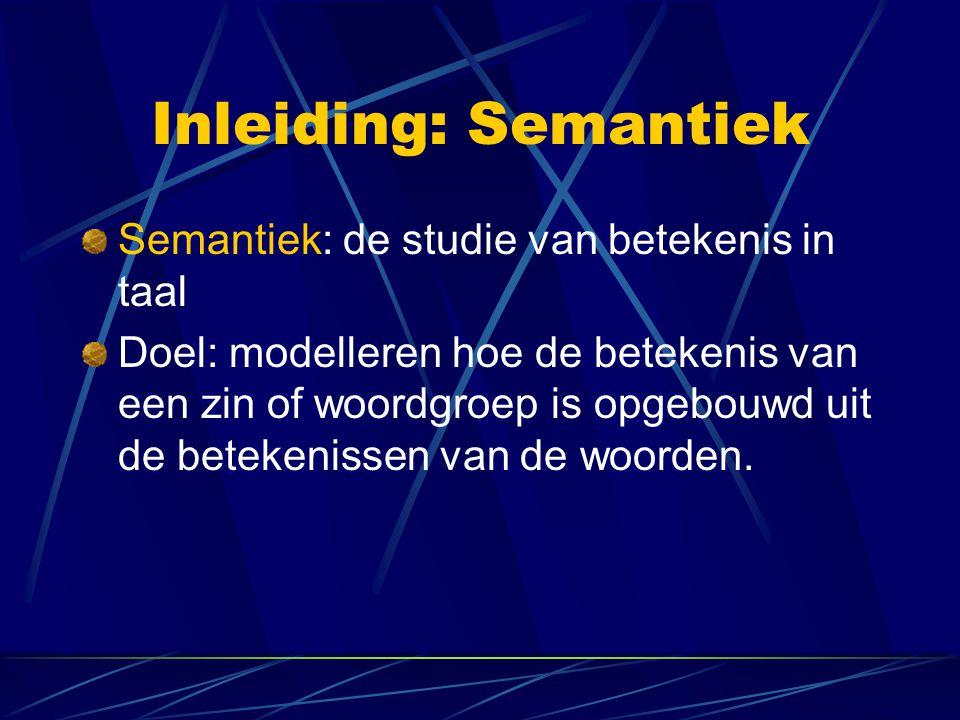 Inleiding: Drie niveaus 1.Semantiek op het niveau van woorden (lexicale semantiek) 2.