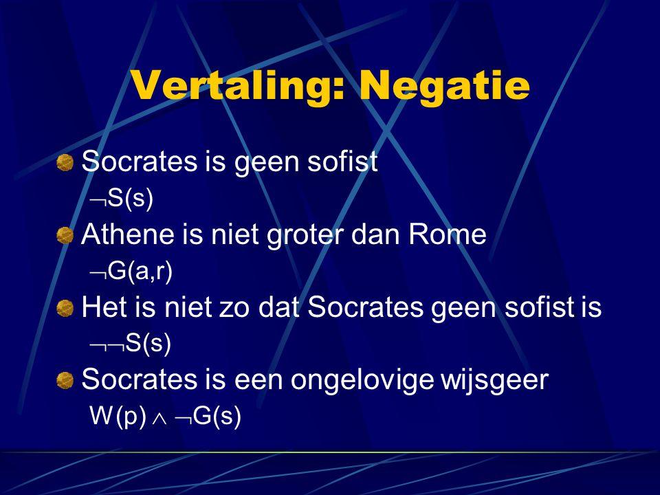 Vertaling: Negatie Wat is de vertaling van: Socrates is geen gelovige wijsgeer?