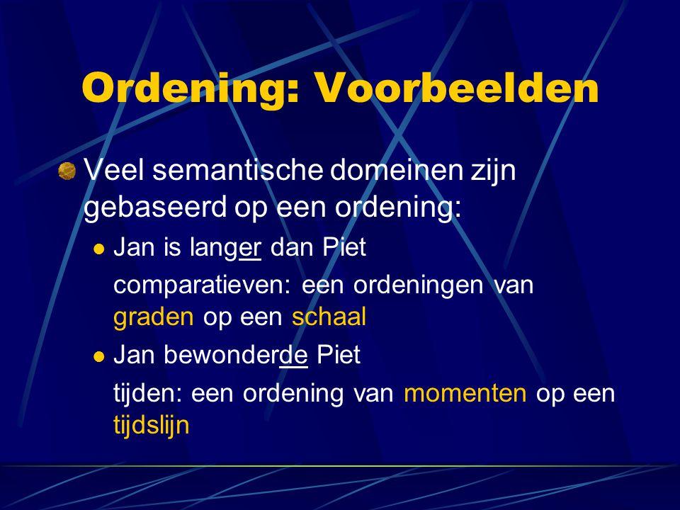 Ordening: Graden Jan is langer dan Piet lengte(x,d): x heeft lengte d  d (lengte(j,d)   d' (lengte(p,d')  d > d' ) Strikte ordening van graden Mogelijkheden: definitie van langst, even lang, minder lang, korter, …