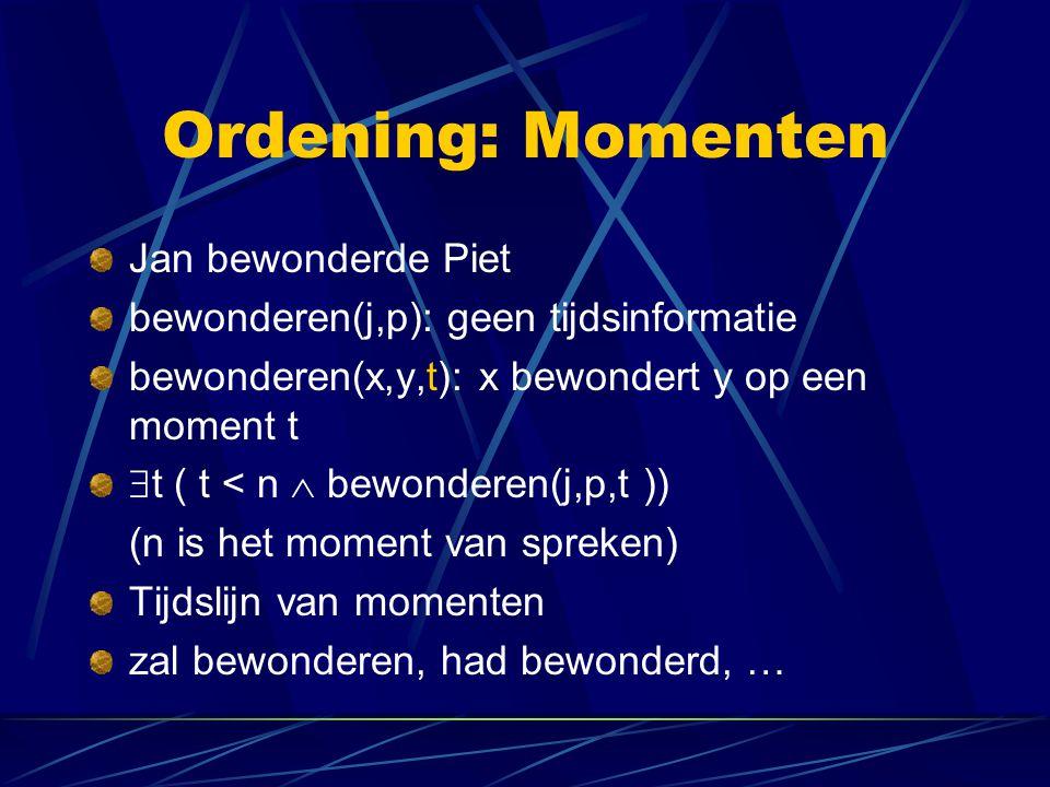 Grenzen aan PL Wat voor soort natuurlijke taal uitdrukkingen kunnen we niet beschrijven met de middelen van de eerste-orde predikatenlogica (PL).