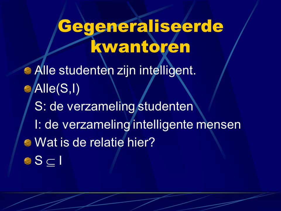 Gegeneraliseerde kwantoren Geen student is rijk Geen(S,R) S R S  R = 