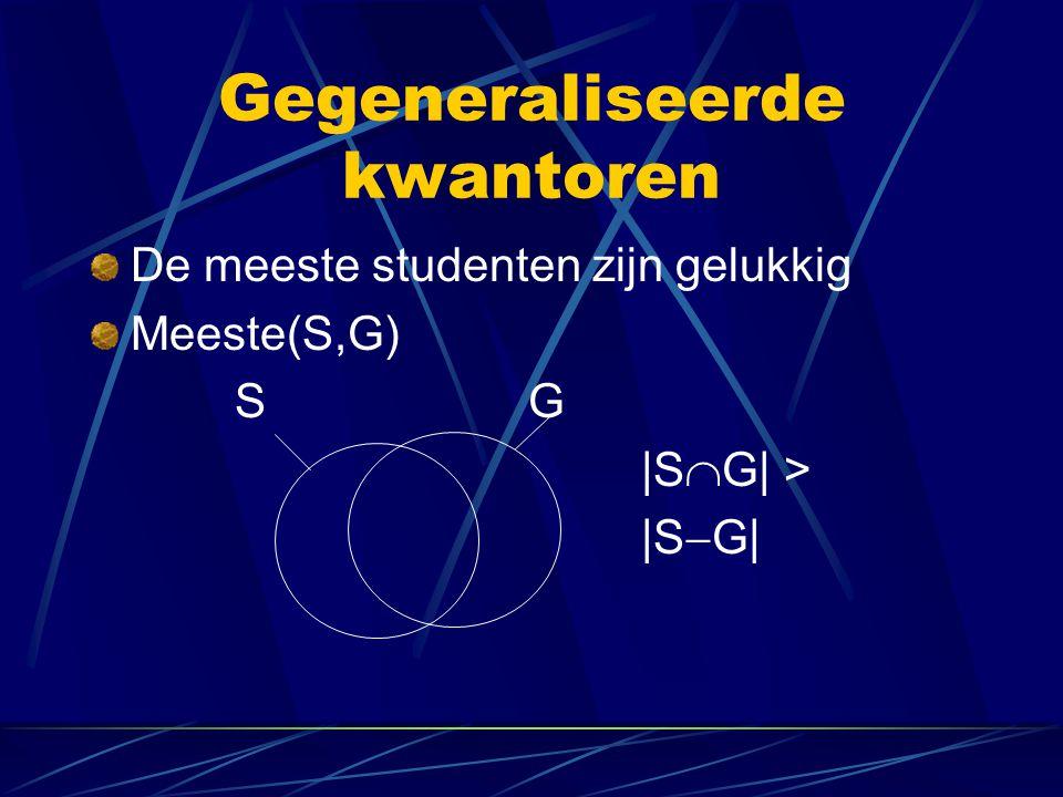 Gegeneraliseerde kwantoren Sommige determiners zijn uitdrukbaar in PL, andere niet.