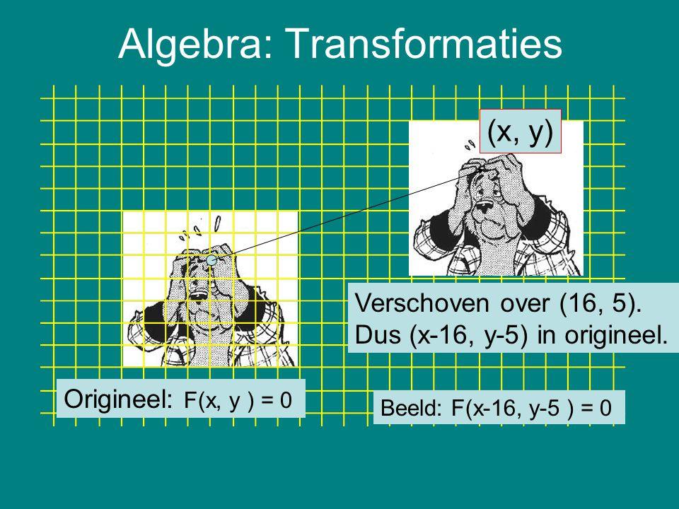 Algebra: Transformaties Origineel: F(x, y ) = 0 Verschoven over (16, 5). Dus (x-16, y-5) in origineel. (x, y) Beeld: F(x-16, y-5 ) = 0
