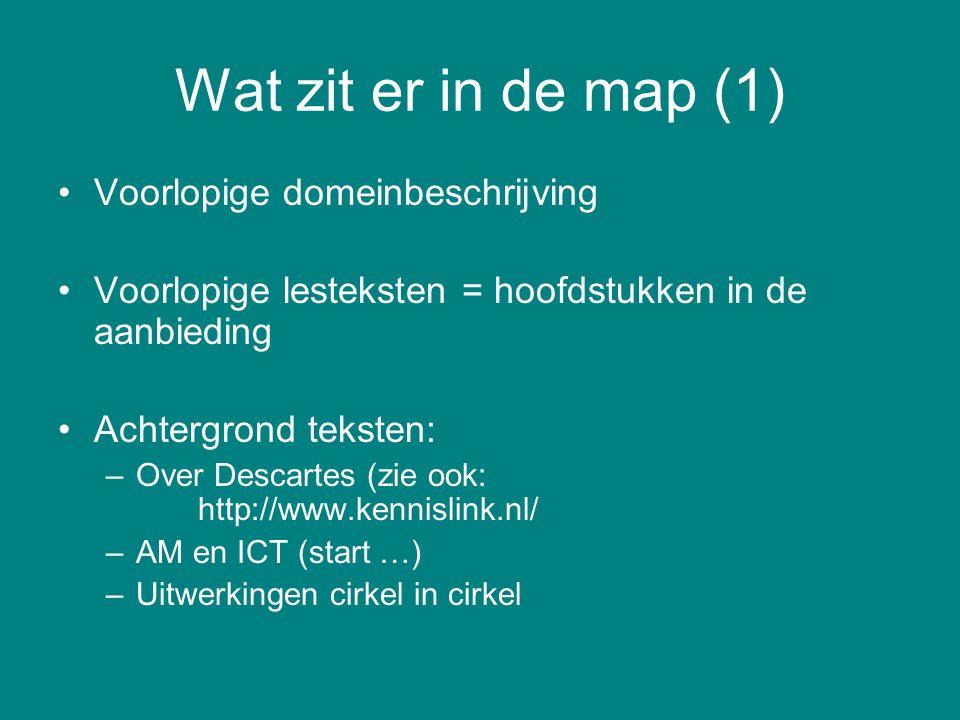 Wat zit er in de map (1) Voorlopige domeinbeschrijving Voorlopige lesteksten = hoofdstukken in de aanbieding Achtergrond teksten: –Over Descartes (zie