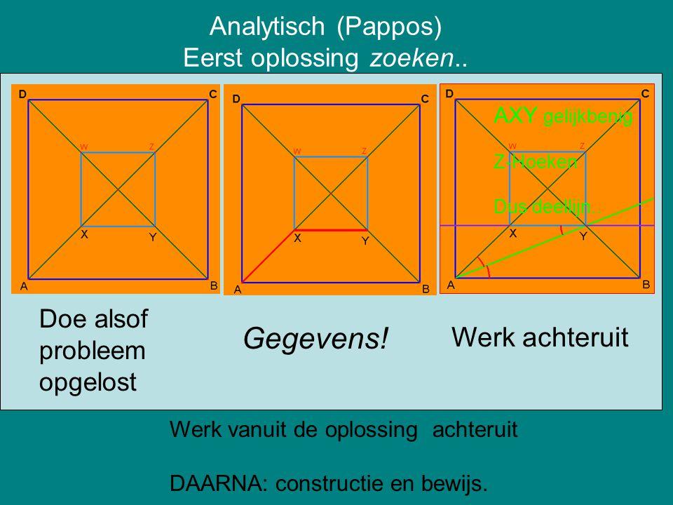 Analytisch (Pappos) Eerst oplossing zoeken.. Gegevens! AXY gelijkbenig Z-Hoeken Dus deellijn.. Werk achteruit Werk vanuit de oplossing achteruit DAARN