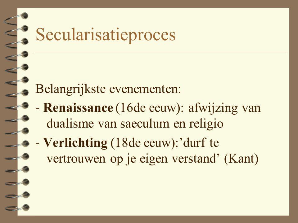 Proces van secularisatie Na de Middeleeuwen een proces van secularisatie waarin - het gezag van de kerk werd teruggedrongen en - de autonomie stap voo