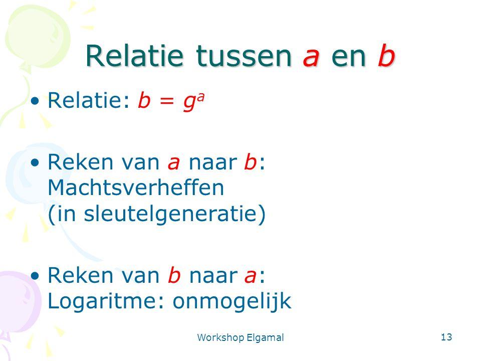 Workshop Elgamal 13 Relatie tussen a en b Relatie: b = g a Reken van a naar b: Machtsverheffen (in sleutelgeneratie) Reken van b naar a: Logaritme: onmogelijk