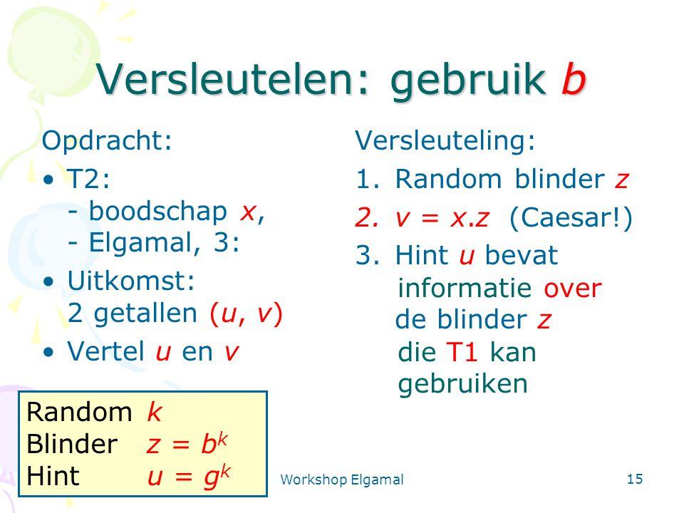 Workshop Elgamal 15 Versleutelen: gebruik b Opdracht: T2: - boodschap x, - Elgamal, 3: Uitkomst: 2 getallen (u, v) Vertel u en v Versleuteling: 1.Random blinder z 2.v = x.z (Caesar!) 3.Hint u bevat de blinder z informatie over die T1 kan gebruiken Randomk Blinderz = b k Hintu = g k