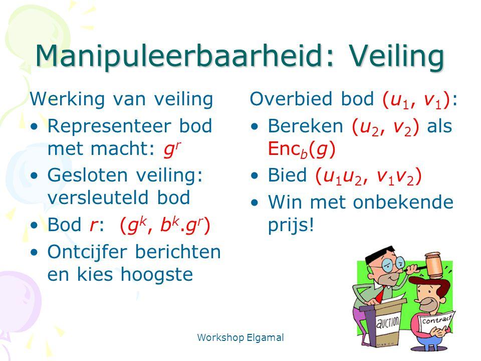 Workshop Elgamal 24 Manipuleerbaarheid: Veiling Werking van veiling Representeer bod met macht: g r Gesloten veiling: versleuteld bod Bod r: (g k, b k.g r ) Ontcijfer berichten en kies hoogste Overbied bod (u 1, v 1 ): Bereken (u 2, v 2 ) als Enc b (g) Bied (u 1 u 2, v 1 v 2 ) Win met onbekende prijs!