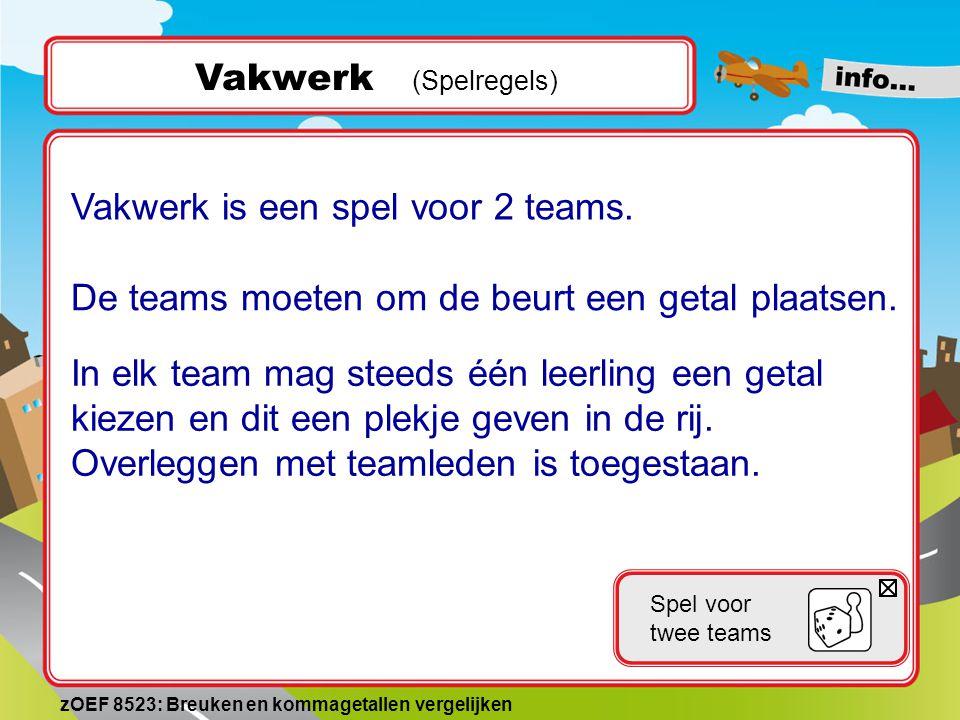 Vakwerk (Spelregels) Vakwerk is een spel voor 2 teams.