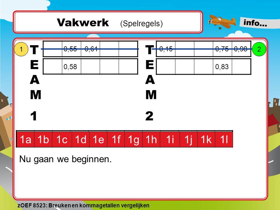 0,610,750,990,550,830,650,580,610,320,15 Vakwerk (Spelregels) TEAM1TEAM1 1a1b1c1d1e1f1g1h1i1j1k1l TEAM2TEAM2 Team 1 kiest voor een rood vakje, bijvoor