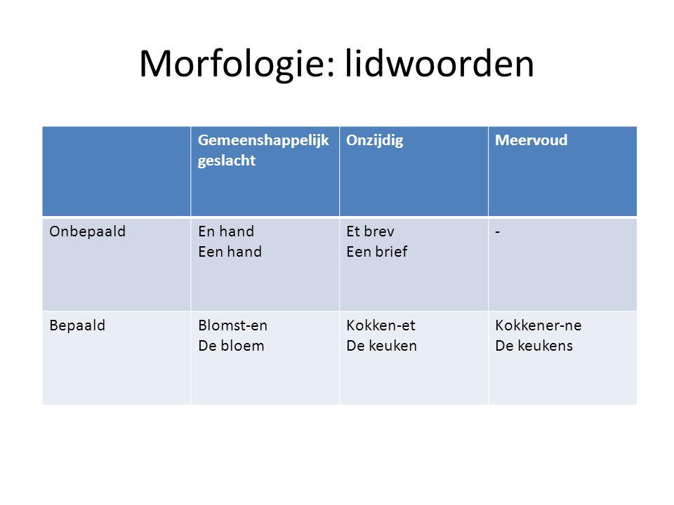 Discourse Indefiniete lidwoorden: en(een),nogle(enkele), tre(drie).