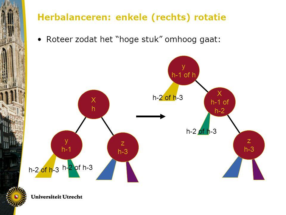Herbalanceren: enkele (rechts) rotatie Roteer zodat het hoge stuk omhoog gaat: XhXh y h-1 z h-3 X h-1 of h-2 y h-1 of h z h-3 h-2 of h-3