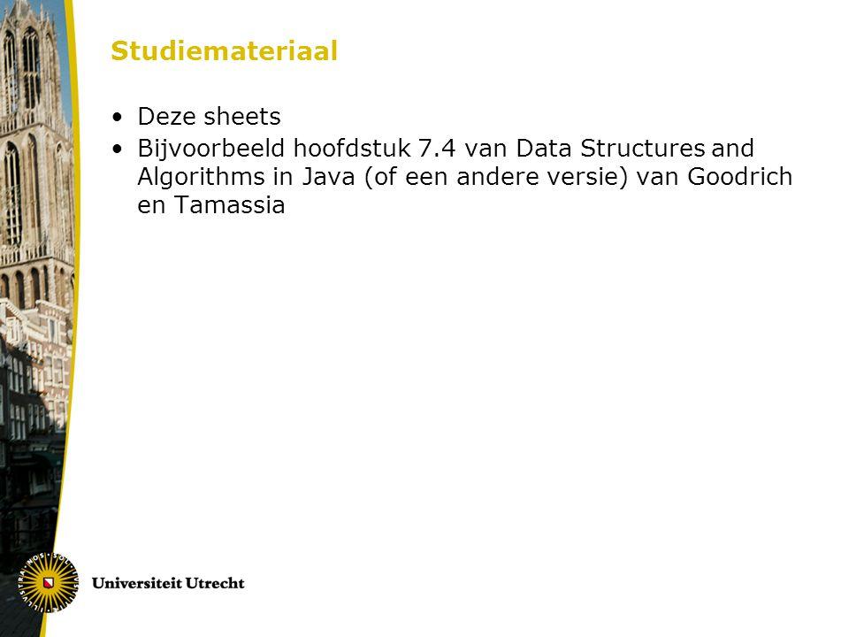 Studiemateriaal Deze sheets Bijvoorbeeld hoofdstuk 7.4 van Data Structures and Algorithms in Java (of een andere versie) van Goodrich en Tamassia