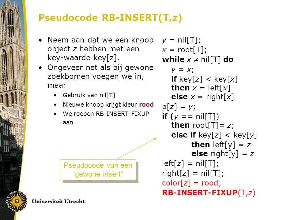 Pseudocode RB-INSERT(T,z) Neem aan dat we een knoop- object z hebben met een key-waarde key[z].