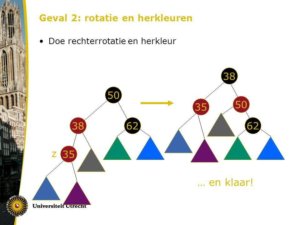 Geval 2: rotatie en herkleuren Doe rechterrotatie en herkleur 50 62 38 35 50 62 38 35 z … en klaar!