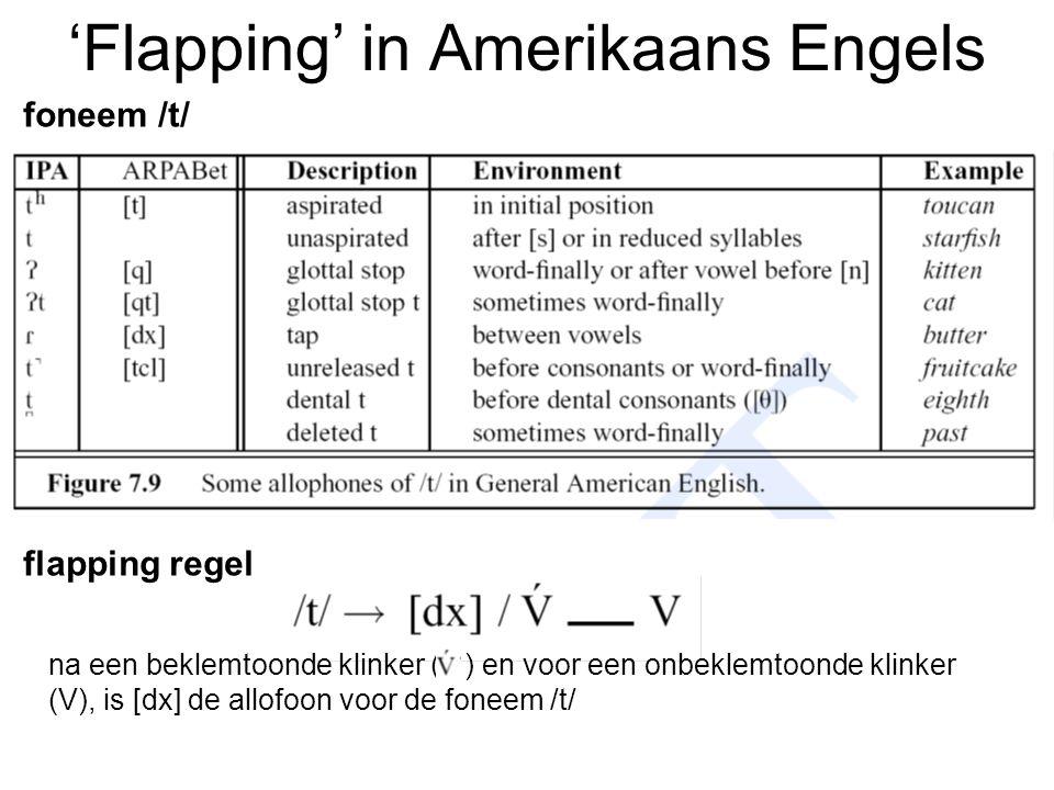 'Flapping' in Amerikaans Engels foneem /t/ flapping regel na een beklemtoonde klinker ( ) en voor een onbeklemtoonde klinker (V), is [dx] de allofoon